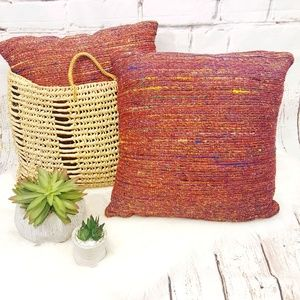 World Market Woven Sari Boho Throw Pillows Set